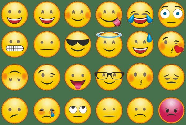 16 Smiley qui représentent pour chacun une émotion
